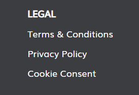 digital lime green legal section website footer