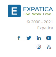 expatica website footer logo social media icon