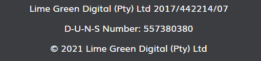 website footer copyright section digital lime green